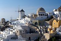 Santorini, Greek Islands, Oia, Cyclades, Greece, Europe, Village of Oia on the steep hillside of Santorini Island on the Aegean Sea.