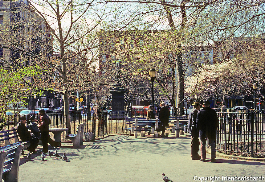 New York City: Lower East side. Old men in park--spring day. Photo '78.