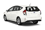 Car pictures of rear three quarter view of a 2015 Toyota Prius V Four 5 Door MPV angular rear
