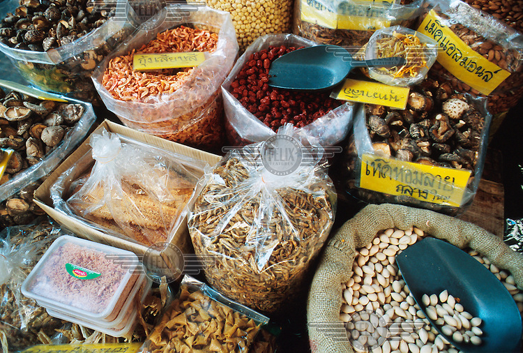 Dried foods, including mushrooms, shrimps and fish, at a market stall in Chinatown.