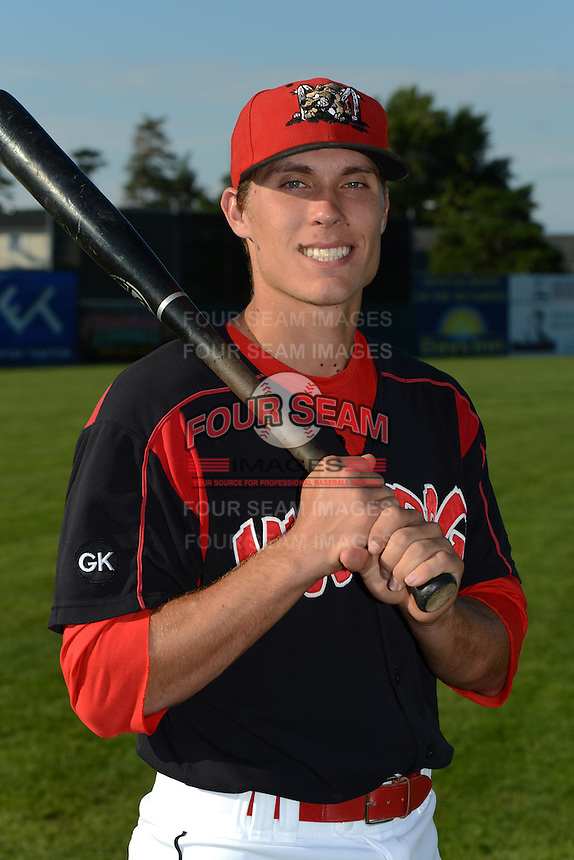 Batavia Muckdogs catcher Michael Vaughn (7) poses for a photo before a game against the Williamsport Crosscutters on September 4, 2013 at Dwyer Stadium in Batavia, New York.  Williamsport defeated Batavia 6-3 in both teams season finale.  (Mike Janes/Four Seam Images)
