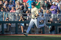 Vanderbilt Commodores outfielder Pat DeMarco (18) rounds third base after hitting a home run against the Michigan Wolverines during Game 3 of the NCAA College World Series Finals on June 26, 2019 at TD Ameritrade Park in Omaha, Nebraska. Vanderbilt defeated Michigan 8-2 to win the National Championship. (Andrew Woolley/Four Seam Images)