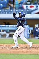 Asheville Tourists second baseman Luis Santana (3) hits a home run during a game against the Brooklyn Cyclones on May 6, 2021 at McCormick Field in Asheville, NC. (Tony Farlow/Four Seam Images)