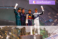 PEREZ Sergio (mex), Red Bull Racing Honda RB16B, portrait VETTEL Sebastian (ger), Aston Martin F1 AMR21, portrait and GASLY Pierre (fra), Scuderia AlphaTauri Honda AT02, portrait at the podium during the Formula 1 Azerbaijan Grand Prix 2021 from June 04 to 06, 2021 on the Baku City Circuit, in Baku, Azerbaijan -<br /> FORMULA 1 : Grand Prix Azerbaijan <br /> 06/06/2021 <br /> Photo DPPI/Panoramic/Insidefoto <br /> ITALY ONLY