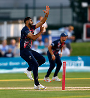 Safyaan Sharif bowls for Kent during Kent Spitfires vs Sussex Sharks, Vitality Blast T20 Cricket at The Spitfire Ground on 18th July 2021
