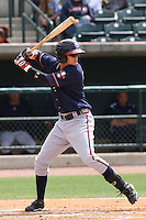Matthew Weaver #9 of the Rome Braves at bat during a game against the Charleston RiverDogs on April 27, 2010 in Charleston, SC.