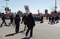 Manifestation des enseignants contre l'austérité,  31 mars 2015.<br /> <br /> PHOTO : Agence Québec Presse