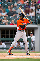 Henry Urrutia (51) of the Norfolk Tides at bat against the Charlotte Knights at BB&T BallPark on April 9, 2015 in Charlotte, North Carolina.  The Knights defeated the Tides 6-3.   (Brian Westerholt/Four Seam Images)