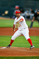 Orem Owlz starting pitcher Greg Belton (1) delivers a pitch to the plate against the Grand Junction Rockies in Pioneer League action at Home of the Owlz on July 6, 2016 in Orem, Utah. The Rockies defeated the Owlz 5-4 in Game 2 of the double header.   (Stephen Smith/Four Seam Images)