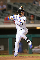 Mesa Solar Sox outfielder Albert Almora (8), of the Chicago Cubs organization, during an Arizona Fall League game against the Peoria Javelinas on October 17, 2013 at HoHoKam Park in Mesa, Arizona.  Mesa defeated Peoria 6-1.  (Mike Janes/Four Seam Images)