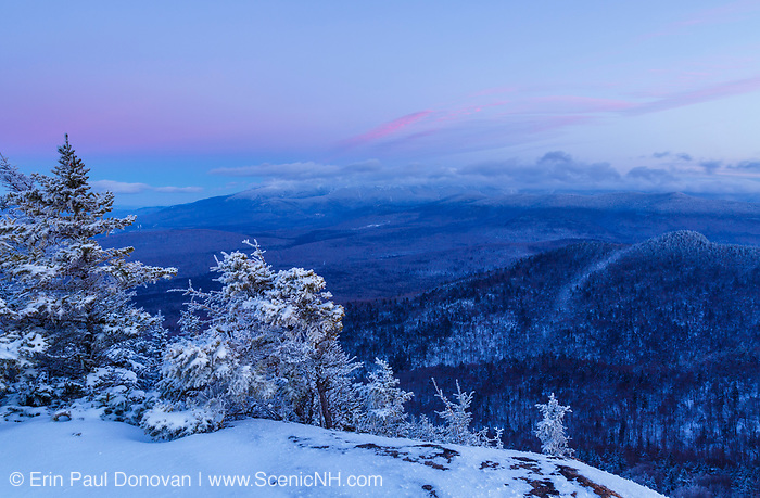 View of the Presidential Range at sunset from Owl's Head (Cherry Mountain) in Carroll, New Hampshire USA during the winter months. The Cohos Trail passes by this view.