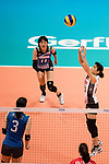Libero Kotoe Inoue of Japan (R) pass during the FIVB Volleyball World Grand Prix match between Japan vs Russia on 23 July 2017 in Hong Kong, China. Photo by Marcio Rodrigo Machado / Power Sport Images