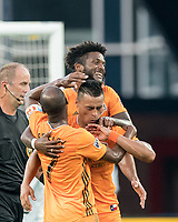 FOXBOROUGH, MA - JUNE 29: Darwin Ceren #24 celebrates his goal with teammates during a game between Houston Dynamo and New England Revolution at Gillette Stadium on June 29, 2019 in Foxborough, Massachusetts.