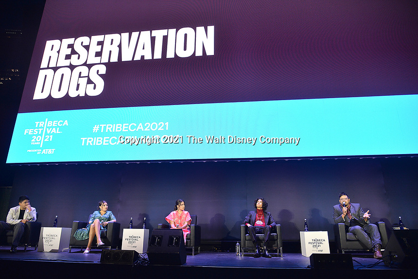 """New York CITY - JUNE 15: (l-r) Lane Factor, Paulina Alexis, Devery Jacobs, D'Pharaoh Woon-A-Tai and Writer/Director Sterlin Harjo attend the Tribeca Festival screening of FX's """"Reservation Dogs"""" on June 15, 2021 in New York City. (Photo by Anthony Behar/FX/PictureGroup)"""