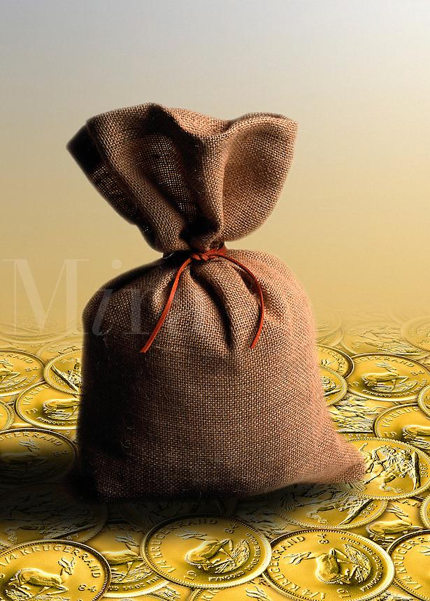 Bag or sack of money resting on a bed of krugerrands