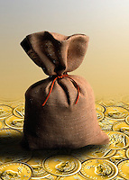 Bag or sack of money resting on a bed of krugerrands