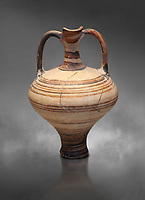 painted Mycenaean two handled jug with a tall neck, Mycenae Chamber Tomb 80, 14th-13th Cent BC.  National Archaeological Museum Athens. Cat no 3228.  Grey art Background