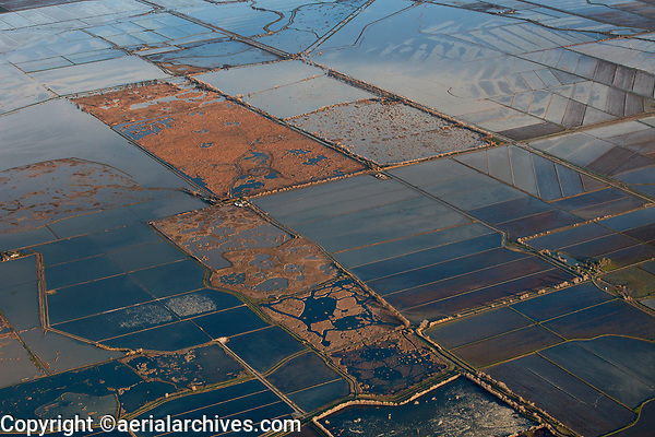 aerial photograph of flooded fields in winter, rice farming and irrigation in the California Central Valley