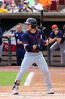 Bowling Green Hot Rods shortstop Taylor Walls (10) at bat during a Midwest League game against the Wisconsin Timber Rattlers on July 23, 2018 at Fox Cities Stadium in Appleton, Wisconsin. Wisconsin defeated Bowling Green 5-3. (Brad Krause/Four Seam Images)