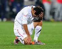 Jonathan Bornstein of USA looks dejected. Ghana defeated the USA 2-1 in overtime in the 2010 FIFA World Cup at Royal Bafokeng Stadium in Rustenburg, South Africa on June 26, 2010.