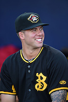 Bradenton Marauders pitcher Ryan Hafner (55) in the dugout before a game against the Charlotte Stone Crabs on April 4, 2014 at Charlotte Sports Park in Port Charlotte, Florida.  Bradenton defeated Charlotte 9-1.  (Mike Janes/Four Seam Images)