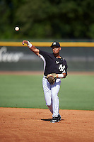 GCL Yankees East second baseman Jesus Graterol (25) throws to first during a game against the GCL Yankees West on August 3, 2016 at the Yankees Complex in Tampa, Florida.  GCL Yankees East defeated GCL Yankees West 12-2.  (Mike Janes/Four Seam Images)