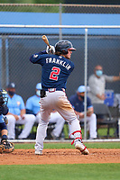 Atlanta Braves Jesse Franklin (2) bats during a Minor League Spring Training game against the Tampa Bay Rays on April 25, 2021 at Charlotte Sports Park in Port Charlotte, Fla.  (Mike Janes/Four Seam Images)