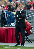 23 April 2011: Columbus Crew head coach Richard Warzycha keeps an eye on the action during a game between the Columbus Crew and the Toronto FC at BMO Field in Toronto, Ontario Canada..The game ended in a 1-1 draw.