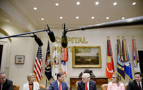 United States President Donald Trump makes an announcement during a meeting with the National Association of Manufacturers in the Roosevelt Room of the White House March 31, 2017 in Washington, DC. <br /> CAP/MPI/CNP/RS<br /> ©RS/CNP/MPI/Capital Pictures