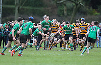 ULSTER SCHOOLS CUP QUARTER FINAL - RBAI vs SULLIVAN | Saturday 20th February 2016<br />  <br /> Ruari Meharg gets the ball away during the quarter final clash of the Ulster Schools Cup between RBAI and Sullivan Upper School at Osborne Park, Belfast, Northern Ireland. Photo credit: John Dickson / DICKSONDIGITAL