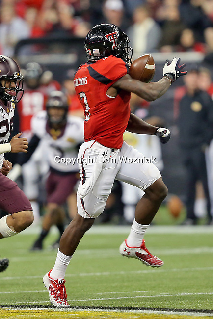 Texas Tech Red Raiders wide receiver Tyson Williams (3) in action during the Meineke Car Care Bowl game of Texas between the Texas Tech Red Raiders and the Minnesota Golden Gophers at the Reliant Stadium in Houston, Texas. Texas defeats Minnesota 34 to 31.