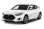 2019 Hyundai Veloster Base 3 Door Hatchback angular front stock photos of front three quarter view