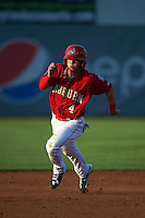 Auburn Doubledays second baseman Dalton Dulin (4) running the bases during a game against the State College Spikes on July 6, 2015 at Falcon Park in Auburn, New York.  State College defeated Auburn 9-7.  (Mike Janes/Four Seam Images)