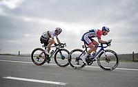 Anthony Turgis (FRA/Total Direct Energie) & World Champion Julian Alaphilippe (FRA/Deceuninck - QuickStep)<br /> <br /> 105th Ronde van Vlaanderen 2021 (MEN1.UWT)<br /> <br /> 1 day race from Antwerp to Oudenaarde (BEL/264km) <br /> <br /> ©kramon