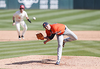 Auburn Carson Skipper (29) throws a pitch, Saturday, April 3, 2021 during the sixth inning of a baseball game at Baum-Walker Stadium in Fayetteville. Check out nwaonline.com/210404Daily/ for today's photo gallery. <br /> (NWA Democrat-Gazette/Charlie Kaijo)