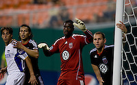 Bill Hamid (28) of D.C. United waits for a corner  at RFK Stadium in Washington, DC.  D.C. United defeated the Kansas City Wizards, 2-1.