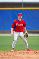 Philadelphia Phillies Dylan Bosheers (15) during a minor league Spring Training game against the Toronto Blue Jays on March 26, 2016 at Englebert Complex in Dunedin, Florida.  (Mike Janes/Four Seam Images)
