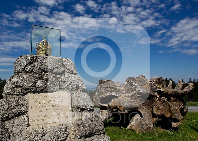 AUT, THEMENBILD, KAISERBUCHE, die Kaiserbuche in der Gemeinde Obertrum, Salzburg war eines der ältesten Naturdenkmäler des Bundeslandes Salzburg. Sie wurde 1779 gepflanzt und stand 225 Jahre lang als naturkundliches Wahrzeichen Obertrums. Sie liegt 766 m ü. A., am Kamm des Haunsberges. An Stelle des alten Baumes wurde 2005 eine Neupflanzung vorgenommen. Der Baum wurde anlässlich des inoffiziellen Besuches des damals noch eigenständigen Erzstiftes durch den österreichischen Kaiser Josef II. am 28. Oktober 1779 gepflanzt. Zum 50-jährigen Regierungsjubiläum Kaiser Franz Josephs I. wurde am 18. August 1898, neben der Kaiserbuche auch eine Gedächtniskapelle eingeweiht. Im Bild Teile der alten Kaiserbuche und dem Obelisk mit der vergoldeten Krone, EXPA Pictures © 2011, PhotoCredit: EXPA/ J. Feichter