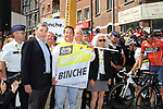 Cycling legend Eddy Merckx and Laurent Devin prepare to start of Stage 3 of the 2019 Tour de France running 215km from Binche, Belgium to Epernay, France. 8th July 2019.<br /> Picture: ASO/Olivier Chabe | Cyclefile<br /> All photos usage must carry mandatory copyright credit (© Cyclefile | ASO/Olivier Chabe)