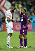 27th March 2021; HBF Park, Perth, Western Australia, Australia; A League Football, Perth Glory versus Newcastle Jets; Liridon Krasniqi of the Newcastle Jets talks with Diego Castro of the Perth Glory after the game