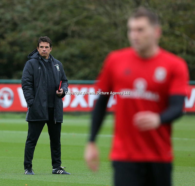 Manager Chris Coleman watches his players train during the Wales Training Session at The Vale Resort, Wales, UK. 06 November 2017
