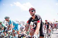 Castellon, SPAIN - SEPTEMBER 7: Bora biker during LA Vuelta 2016 on September 7, 2016 in Castellon, Spain