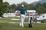 Justin Rose of England looks at UBS pavilion during Hong Kong Open golf tournament at the Fanling golf course on 24 October 2015 in Hong Kong, China. Photo by Xaume Olleros / Power Sport Images