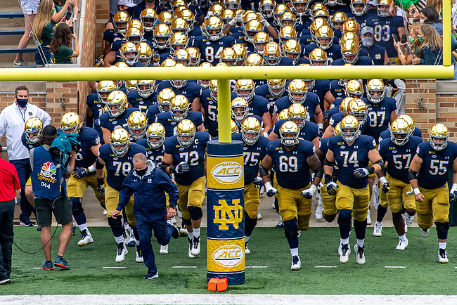 September 12, 2020; The Notre Dame runs out of the tunnel for the 2020 season-opening football game. (Photo by Matt Cashore/University of Notre Dame)
