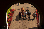 """DEL MAR, CA  JULY 28:  Eduardo G. """"Lalo"""" Luna, Humberto Gomez and Jimmy Barnes escort Triple Crown winner Justify from the paddock to the track to celebrate his achievements on July 28, 2018 at Del Mar Thoroughbred Club in Del Mar, CA.  (Photo by Casey Phillips/Eclipse Sportswire/Getty Images)"""