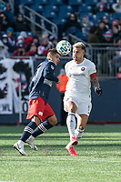 FOXBOROUGH, MA - MARCH 7: Francisco Calvo #5 of Chicago Fire prepares to intercept a ball intended for Gustavo Bou #7 of New England Revolution during a game between Chicago Fire and New England Revolution at Gillette Stadium on March 7, 2020 in Foxborough, Massachusetts.