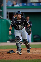 West Virginia Black Bears catcher Kyle Wilkie (10) throws to first base during a NY-Penn League game against the Batavia Muckdogs on June 27, 2019 at Dwyer Stadium in Batavia, New York.  West Virginia defeated Batavia 6-5 in ten innings.  (Mike Janes/Four Seam Images)