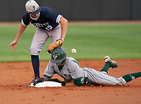 Venice Indians Michael Robertson (12) is hit in the head on a throw down during a stolen base as second baseman Luca Arenado (15) attempts to catch the throw during the IMG National Classic on March 29, 2021 at IMG Academy in Bradenton, Florida.  (Mike Janes/Four Seam Images)