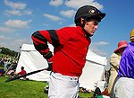 10 May 09: Jockey Niall Molloy in the paddock at the Willowdale Steeplechase in Willowdale, Pennsylvania