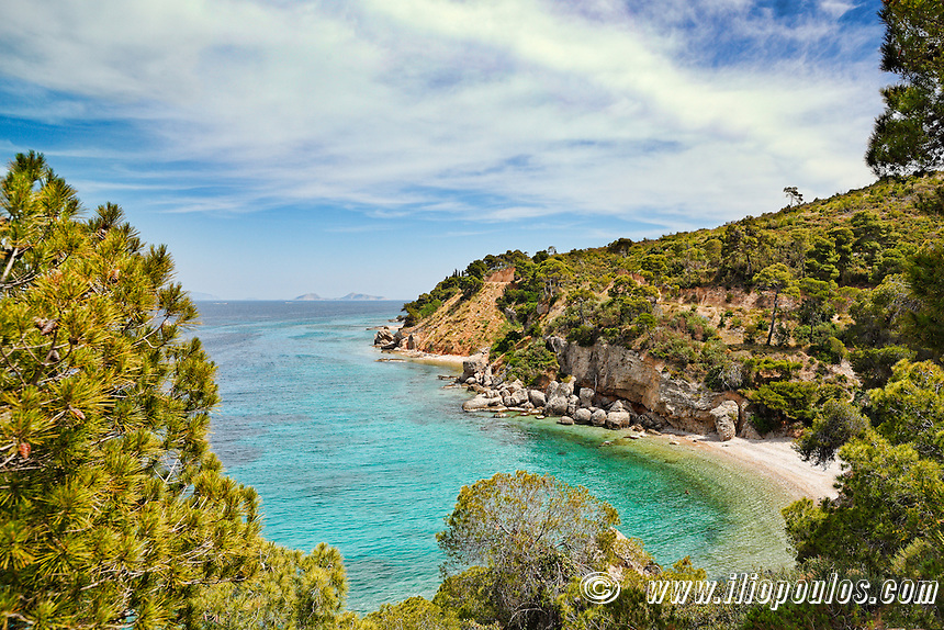 A small beach on the north side of Spetses island, Greece